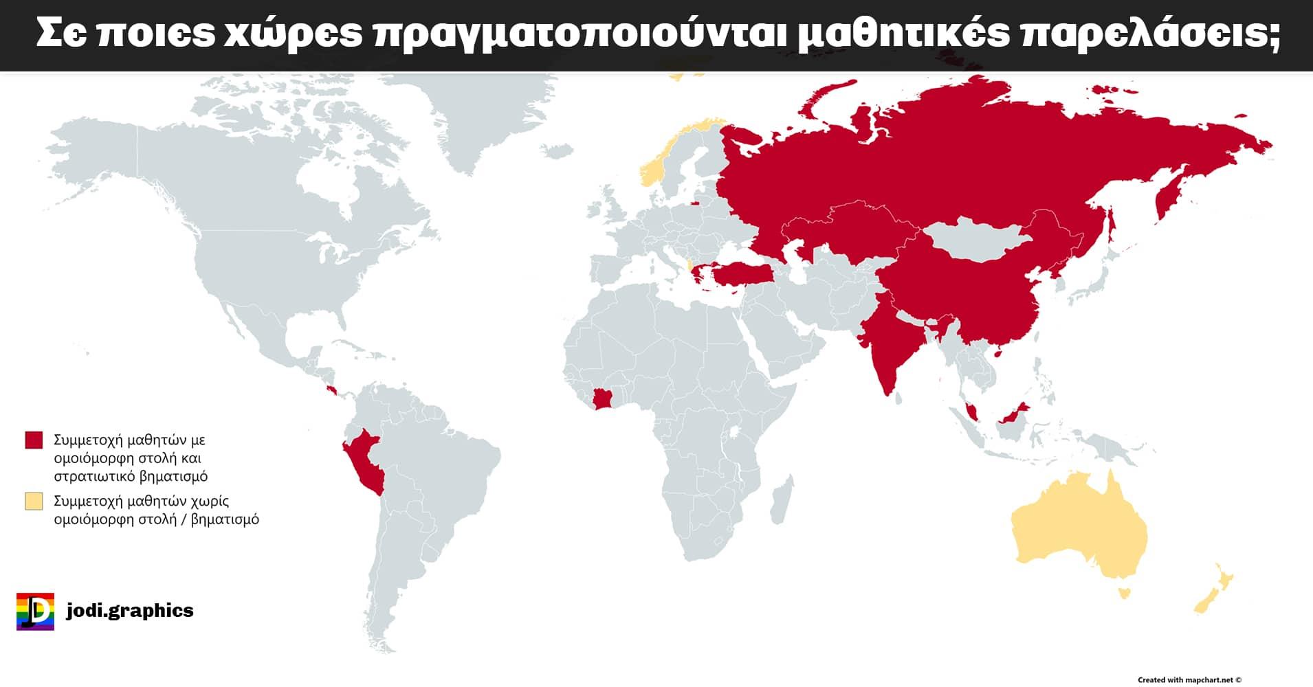 Σε ποιες άλλες χώρες του κόσμου γίνονται ακόμα μαθητικές παρελάσεις στρατιωτικού τύπου;