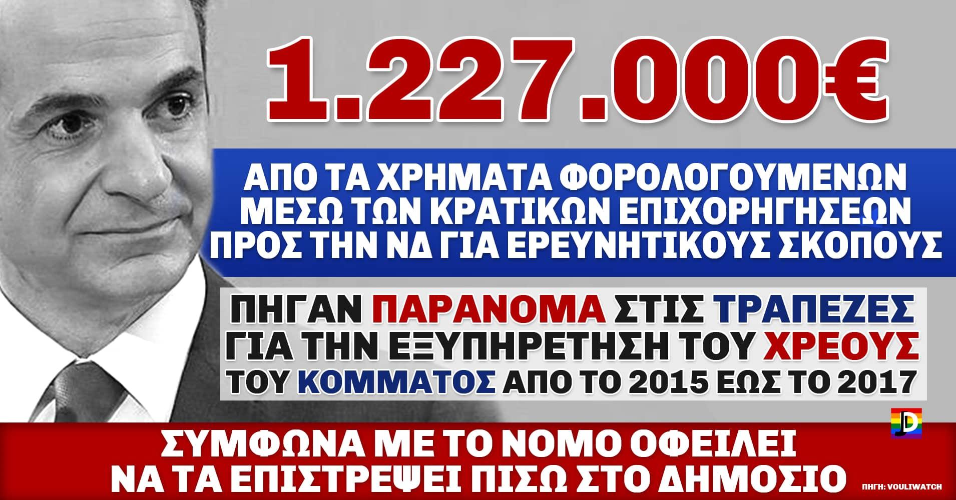 1,2 εκ. ευρώ από την κρατική επιχορήγηση για ερευνητικούς σκοπούς διέθεσε η ΝΔ για την αποπληρωμή των δανείων της